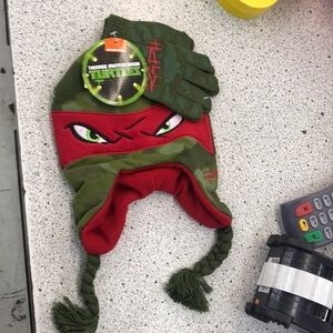 Kids ninja turtles beanie and gloves